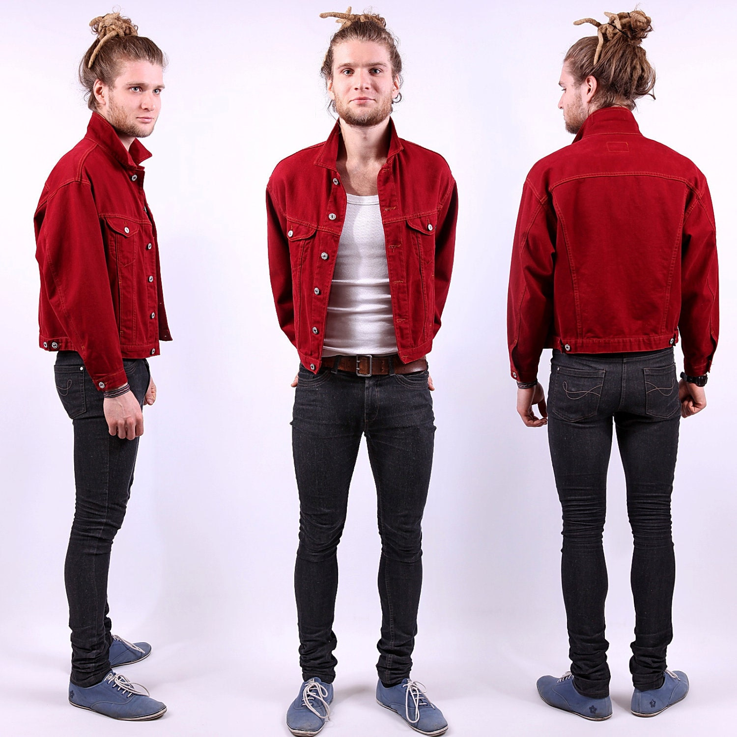 Mens Red Jeans Jacket / United Colors of Benetton Denim