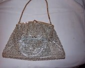 Vintage 1950 Clear blue metal frame evening bag with matching change purse