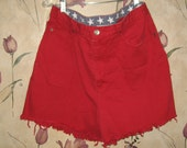 vintage HIPSTER   red cotton denim high waist   jean cutoff shorts with  patriotic  stars sz 12