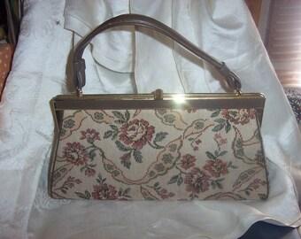 Vintage 1960's Verdi Brown  Vinyl AND FLORAL  Tapestry Kelly style Handbag Purse