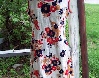 Vintage retro   mod  Hob-Nobber  cotton  Dress   - 1960-1970s     size 16