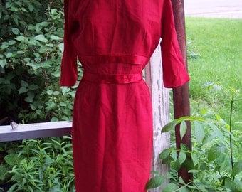 vintage 1950      A Topaz Original red wiggle dress  with  satin taffeta lining       sz..12