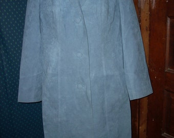 1960 /70s  Kings Tailor Hong Kong blue tailor made mod  blue suede like  trench coat   WITH BELT   never worn