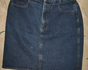 vintage 80s   calvin klein womens    high waist denim mini skirt  sz 13-14