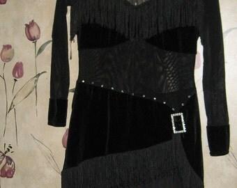 1980s ladies black fringe rhinestones velvety  bodysuit  dance competition costume  sz med