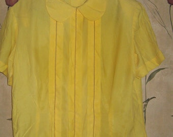 1950s Ladies  rockabilly yellow blouse by non pul