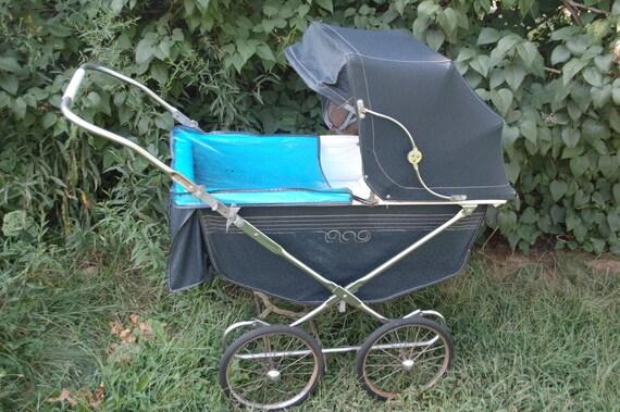 1958 Vintage Stork Line Pram Baby Stroller Buggy Navy Blue