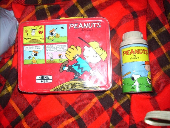 vintage Peanuts Metal Thermos   lunchbox and thermos  by Thermos
