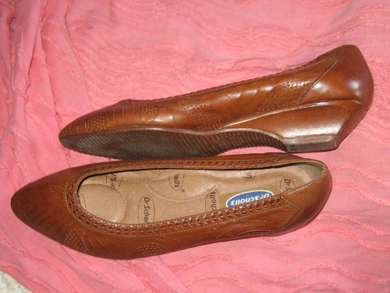 vintage brown woven   leather wedge heel ladies Dr  Scholls slip on  shoes sz 11 m
