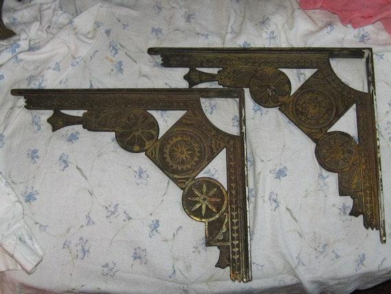 Pair of antique  Victorian  ornate  large  brass  shelf wall brackets