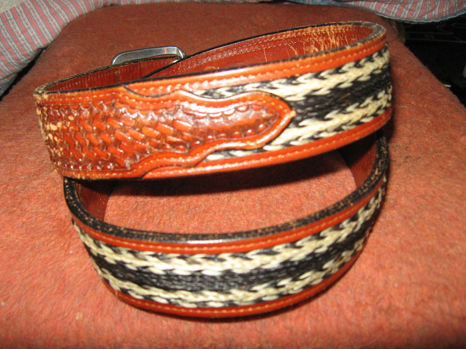 Vintage Tooled Leather Belt W Horsehair Inlay Sz 36