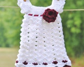 White baby dress Maroon flowers newborn outfit Ribbon infant girl Take home Wedding christening blessing Baptism Shower gift Photo prop