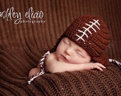 Earflaps football newborn Sports baby hat Athletic infant cap brown white laces Team spirit colors Shower gift Photo prop Take home Birthday