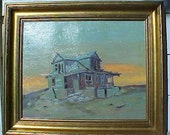 Vintage 1966 Landscape Beach House California Oil Painting signed Pageler