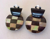 Vintage Abalone Horn Inlay Earrings Clip Dangles