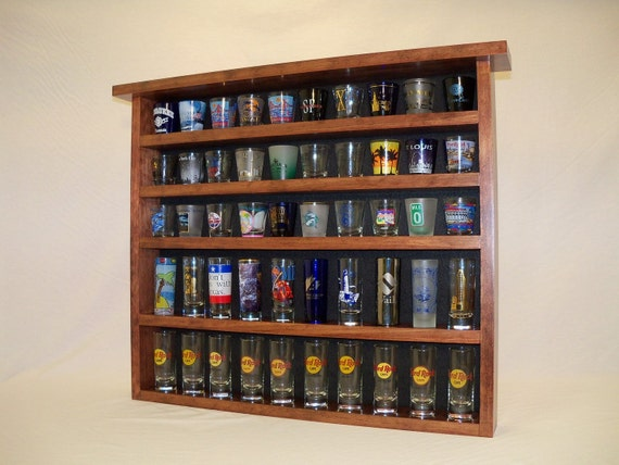 Red Mahogany 50 Shot Glass Display Case with Black Felt Background