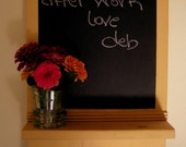 Chalkboard with Wood Shelf ...Mail, Kitchen .... Upcycled Spoons and Fork ...French Vanilla
