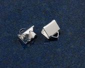 Silver plated 6mm ribbon ends (100)