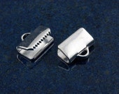 Silver plated 10mm ribbon ends (20)