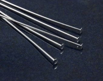2-inch Silver plated 21 gauge headpins (100)