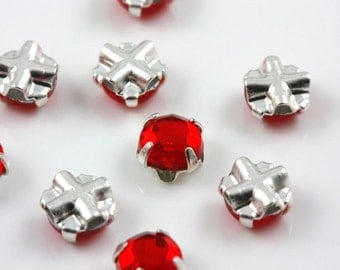 4mm Light Siam sew-on crystal beads (10)