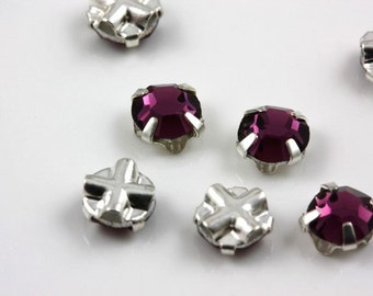 4mm Amethyst sew-on crystal beads (10)