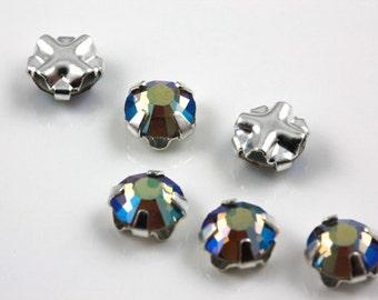 4mm Black Diamond AB sew-on crystal beads (10)