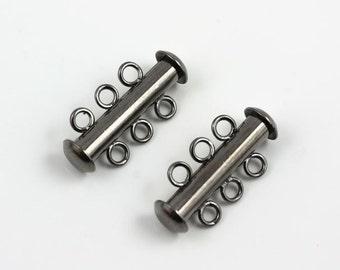 Gunmetal 3-strand slide lock clasps (3)