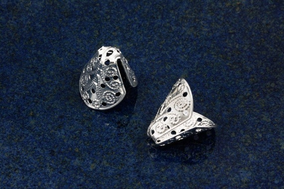Silver plated Open Cone filigree bead caps for 10-14mm beads (20)
