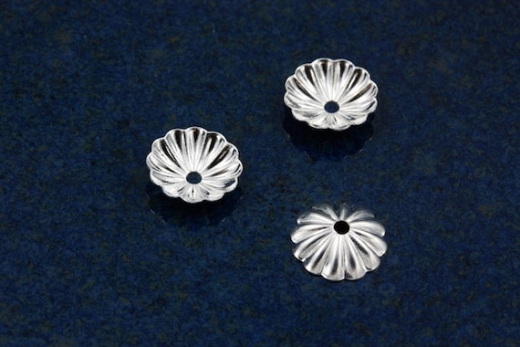 Silver plated Corrugated bead caps for 8-10mm beads (100)