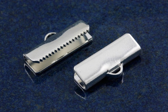 Silver plated 16mm ribbon ends (20)