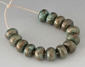 Copper Green Patinas - (14) Handmade Lampwork Beads - Bronze, Turquoise