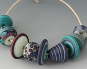 Bohemian Cool Mountain - (9) Handmade Lampwork Beads - Etched, Matte