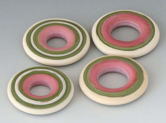 Southwest Discs - (4) Handmade Lampwork Beads - Olive, Raspberry, Sandstone - Etched Matte