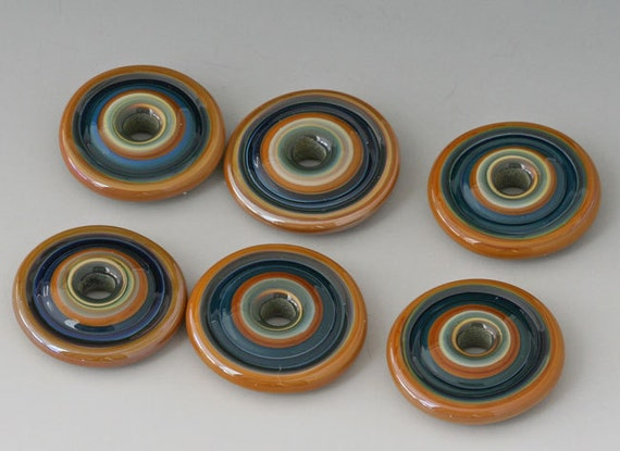 Southwest Discs - (6) Handmade Lampwork Beads - Blue, Green, Cinnamon