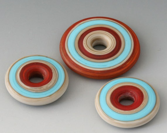 Southwest Discs - (43 Handmade Lampwork Beads - Russet, Turquoise  - Etched, Matte