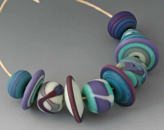 Bohemian Cool Waters 1 - (10) Handmade Lampwork Beads - Etched, Matte