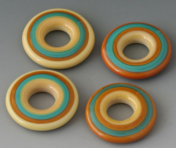 FIRST FRIDAY SALE - Southwest Discs - (4) Handmade Lampwork Beads - Turquoise, Terracotta