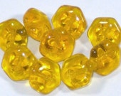 Vintage Clear Citrine Yellow Transparent  Glass Buttons Set 9