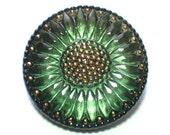 Green Sunflower Glass Button Big 32mm Modern Czech Button Faceted Petals