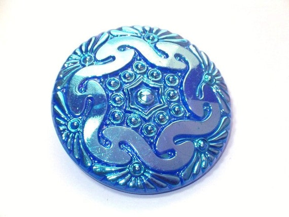 Peacock Carnival Luster 42mm Big Collectible Czech Glass Button Beautiful Detail
