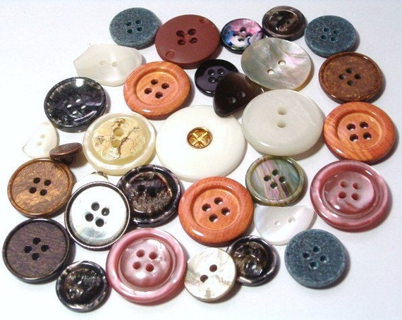 Sale  Plastic Buttons Assortment Mixed Lot New Buttons Orange Pink Brown