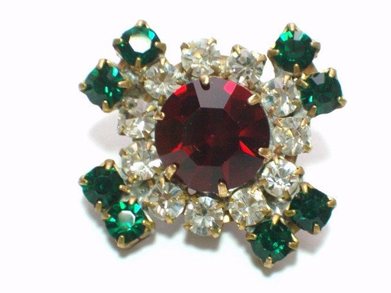 Vintage Ruby Red and Emerald Green 27mm Rhinestone Button Embellishment