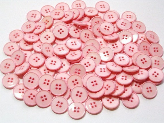 Light Pink Plastic Craft Buttons 14mm Large Lot of 100