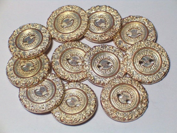 14 Aged Copper Color Lacey Metal Buttons Costume Buttons Button Set