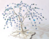 wire art tree, silver plated wire turquoise blue beads miniature weeping willow tree statue, minimal home decor, minimalistic serenity 2016