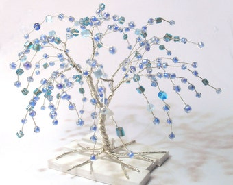 wire art tree silver plated wire turquoise blue beads miniature weeping willow tree statue minimal home decor minimalistic blue tree of life