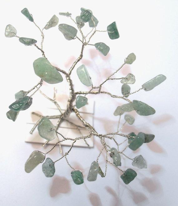 green jade gemstone wire art tree green silver tree of life