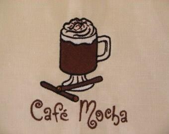 Embroidered Linen Towel Cafe Mocha