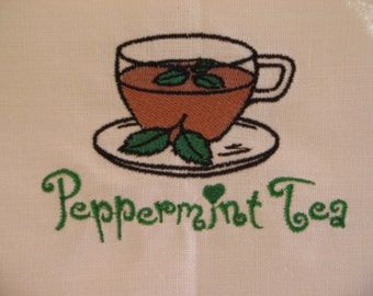 Embroidered Linen Towel Peppermint Tea